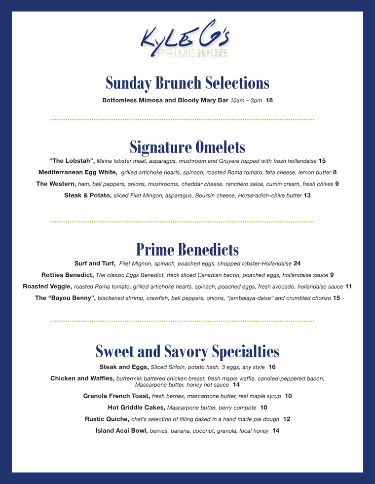 Kyle G's Brunch, Breakfast Menu, Kyle G's Prime Seafood & Steak Restaurant on Hutchinson Island, Jensen Beach FL