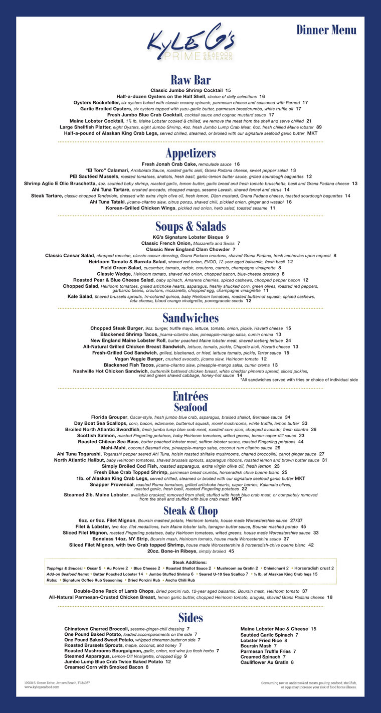 Kyle G's Seafood Steaks Restaurant Dinner Menu - Kyle G's Online Menu - Hutchinson Island Florida Seafood, Steak Restaurant